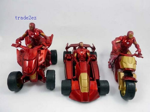 3x Iron Man 2 Action Figure Motorbike Car Drive Set