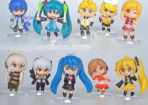 Set /10 pcs New Vocaloid HATSUNE MIKU Family Figures Rin Len