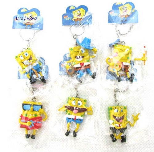 SpongeBob SquarePants action figure Keychain Keyring set (6 Pieces/set)