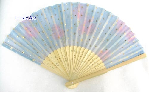 Chinese Silk folding Bamboo Hand Fan Fans Art Handmade Flower