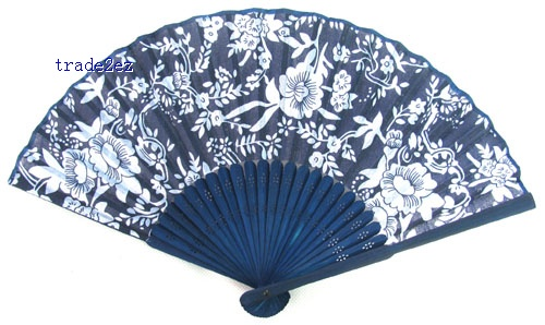 Chinese Silk folding Bamboo Hand Blue Fan Fans Art Handmade Flower
