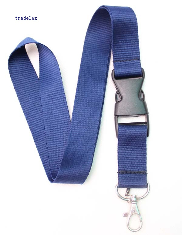 Blank Solid navy blue lanyard