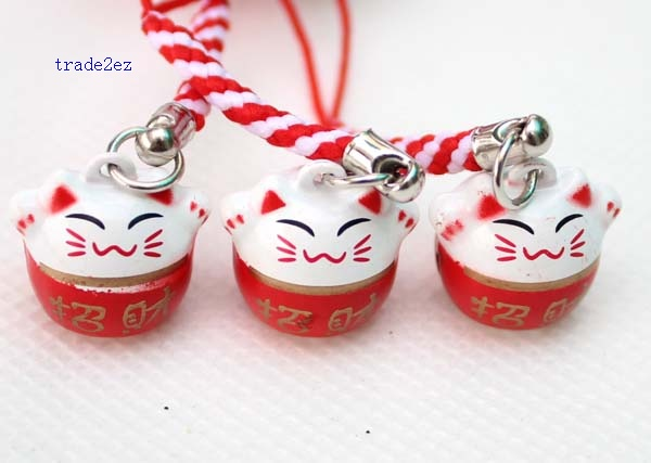 bring money red lucky cat ring bell white