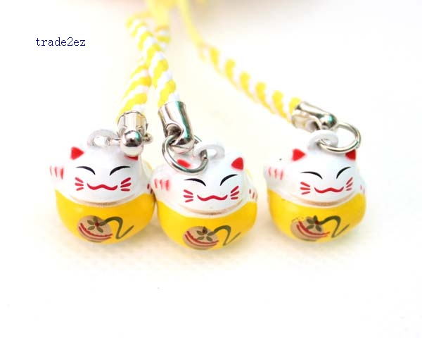 yellow white lucky cat ring bell