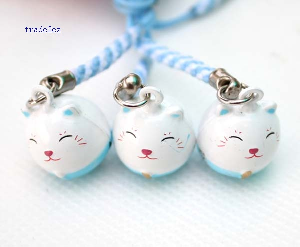 blue ring bell lucky cat white