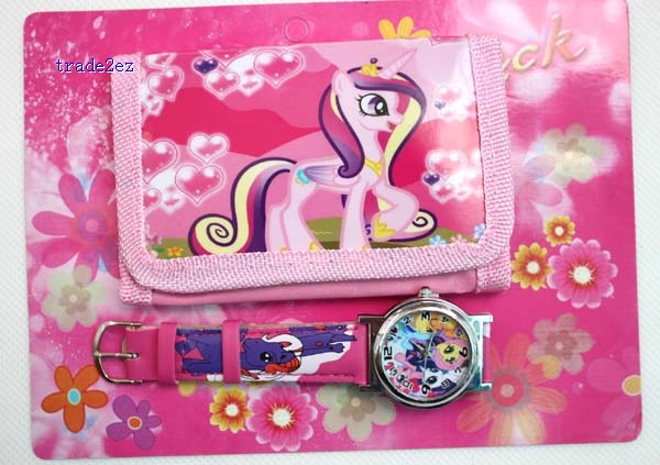 my little pony wallet and watch set