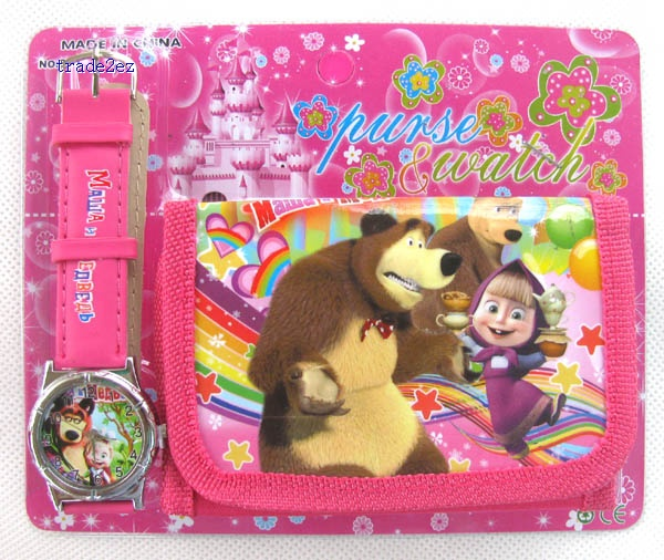 Masha&Bear watches and wallet set