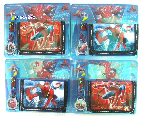 spiderman wallet and watch set new