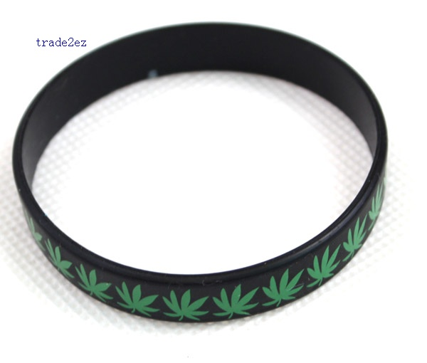 green leaf silicone bracelet Narrow