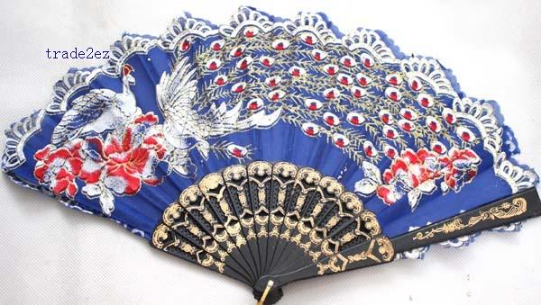 chinese silks flower wooden fan