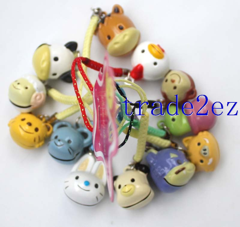 12 Symbolic Animals Diferent Animal Strap & Bell Charms