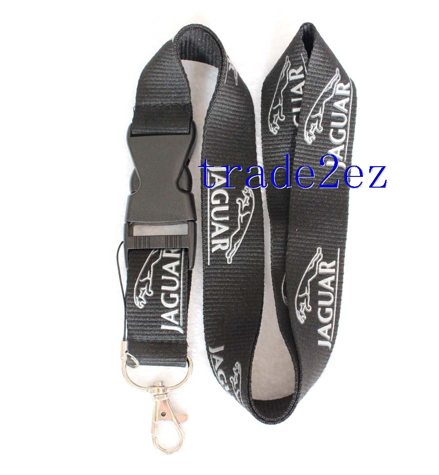 Silver Jaguar Logo Lanyard NEW Black