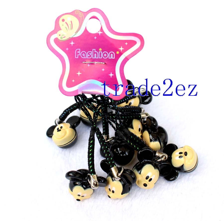 Mickey Mouse Cartoon Strap & Bell Charms