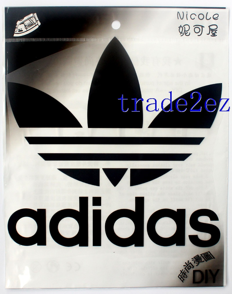 Big 20-16cm Black Adidas Logo DIY Patch Sticker