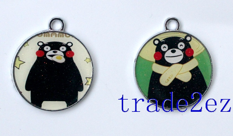 Anime Black Kumamon Cartoon Metal Round Pendants