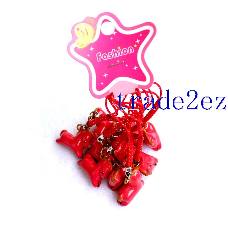 Gallop Red Horse Strap & Bell Charms