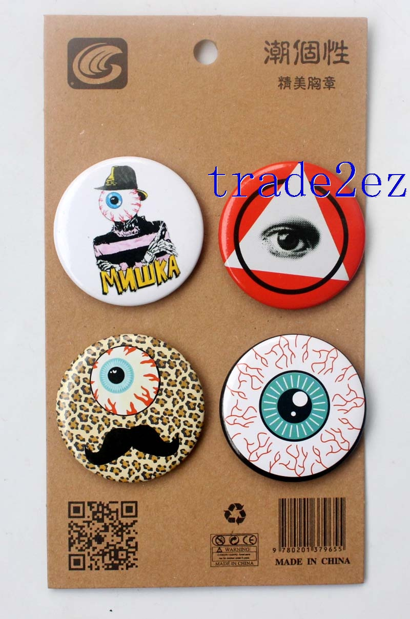 MISHKA brand Logo 4.3CM Cartoon Badge and Buttons