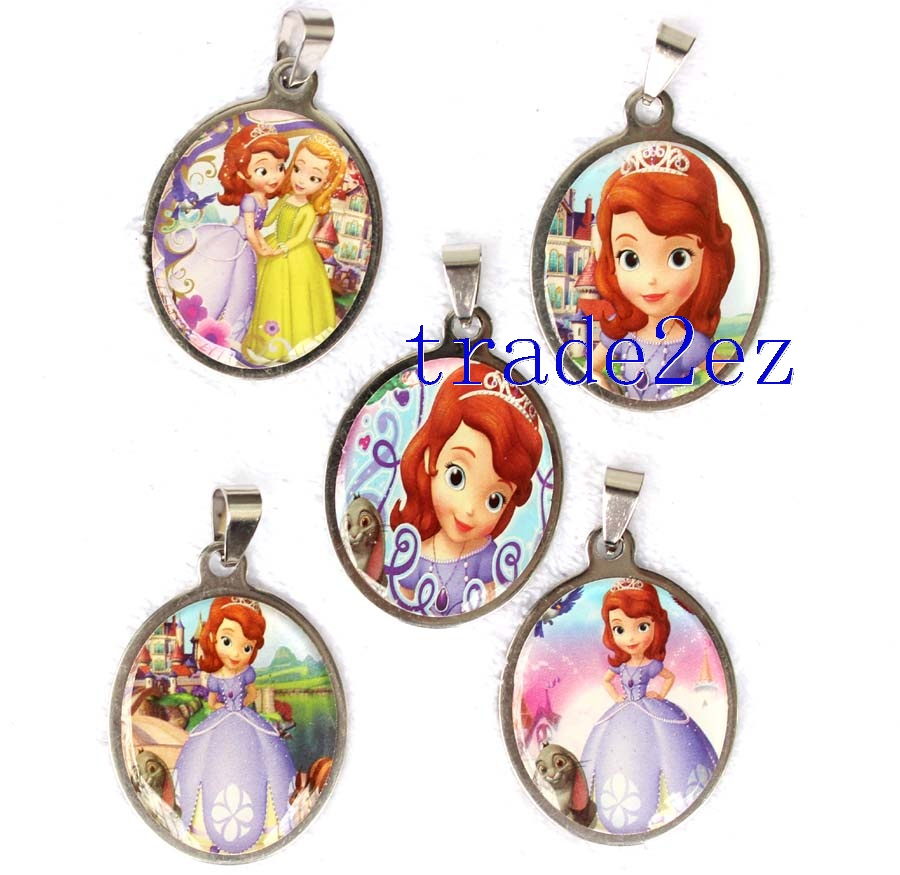 Sofia the first Princess Round Metal Pendants