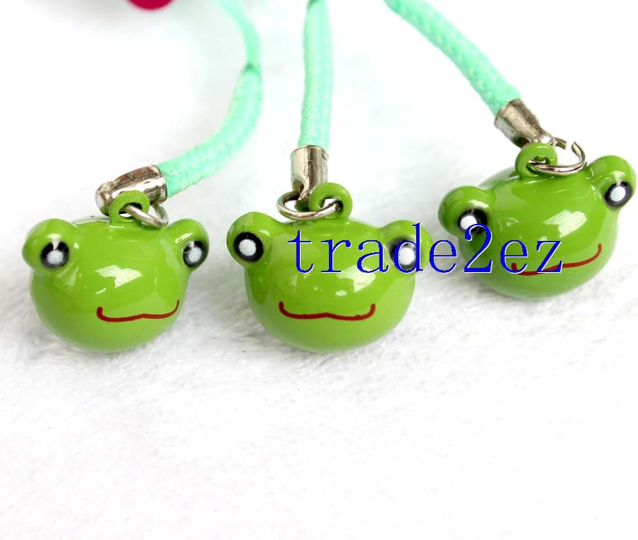 Animal frog Head Strap & Bell Charms Green/Gold