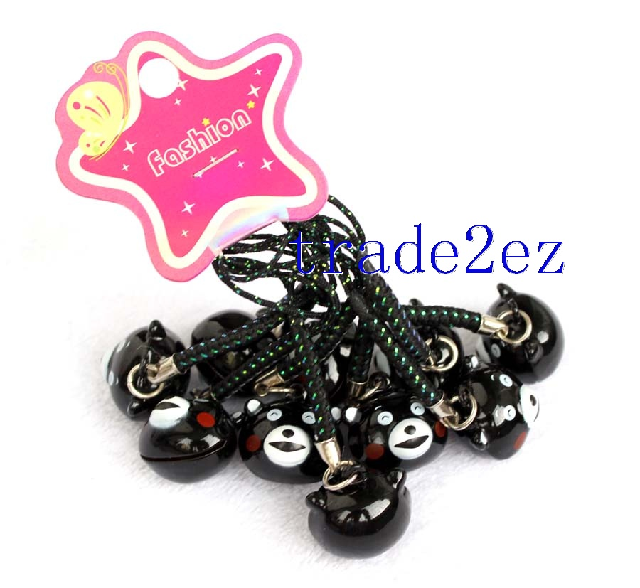 Anime Kumamon Head Strap & Bell Charms Black