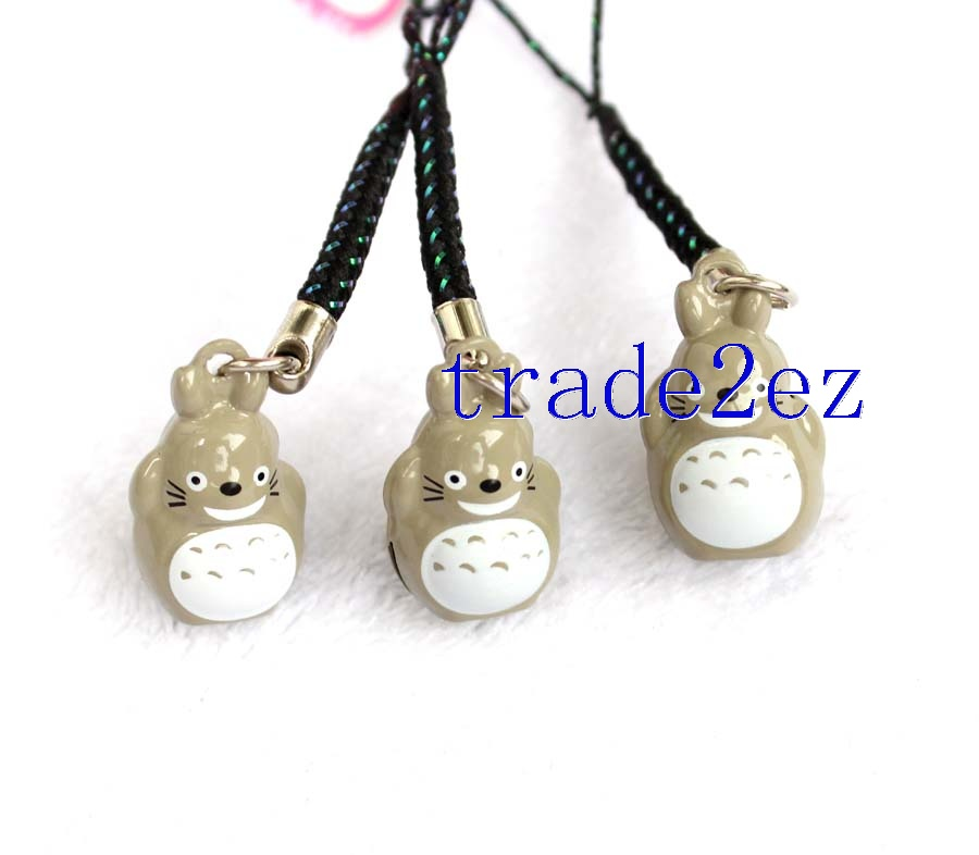 Anime My Neighbor Totoro Strap & Bell Charms Grey