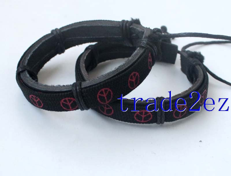 Peace logo  Tribal Leather Bracelets