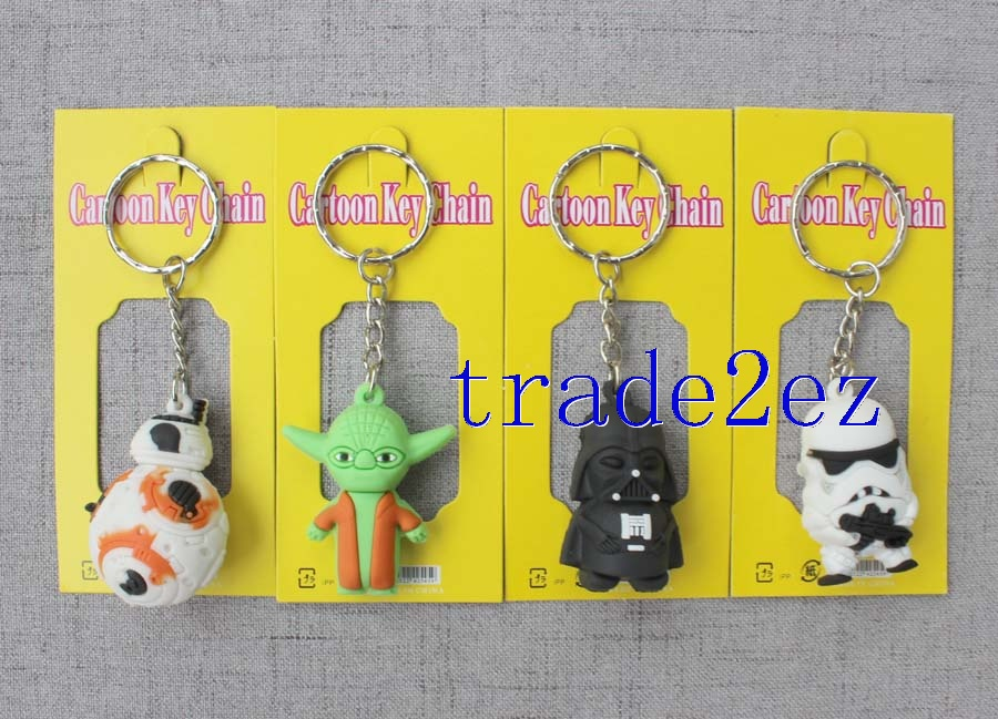 A key chain with 12 Star Wars shapes
