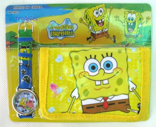 Spongebob Cartoon watches Watch Children's Kids watches With Boxes wallet