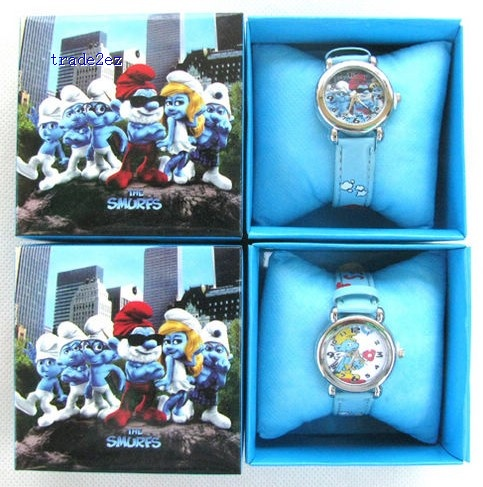 The Smurfs Cartoon Boy Watch Wristwatches W Boxes