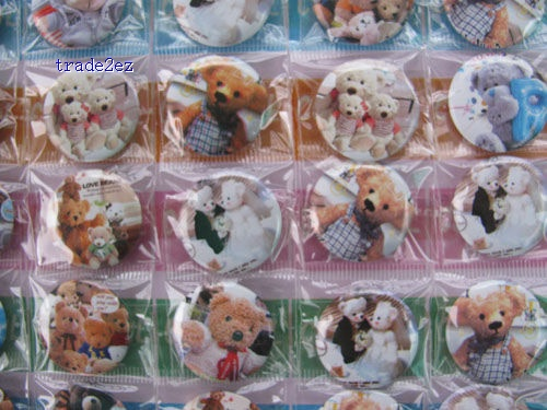 Teddy Bear Pins Badges Birthday Party 2.5 cm