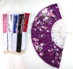 silks flower wooden fan