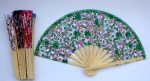 chinese silks flower wooden fan New