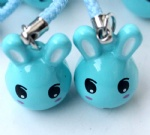 Cartoon Animal Rabbit Strap & Bell Charms Blue