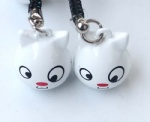 Cartoon Animal Cat Strap & Bell Charms White