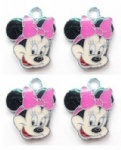 Minnie mouse Hot pink Metal Charms pendants